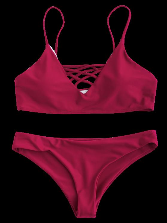 Lace Up Bikini Swimwear - RED L Mobile