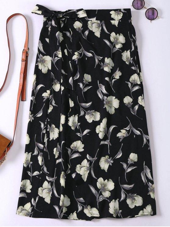 Floral High Slit Wrap Holiday Skirt - BLACK ONE SIZE Mobile
