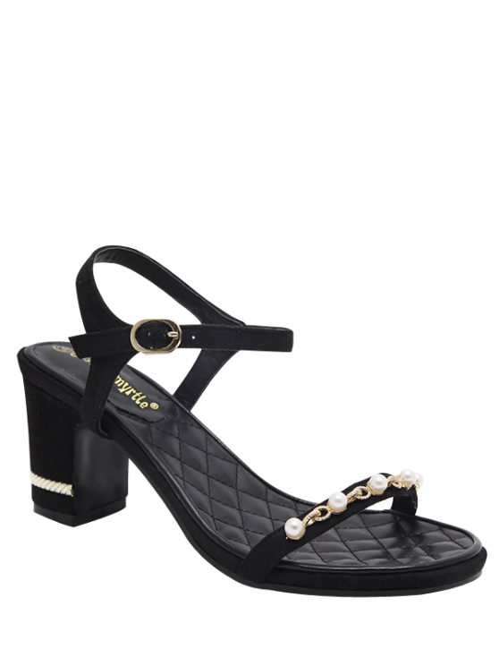 lady Suede Block Heel Faux Pearls Sandals - BLACK 37