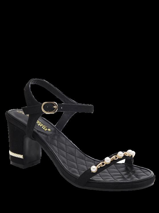 online Suede Block Heel Faux Pearls Sandals - BLACK 39