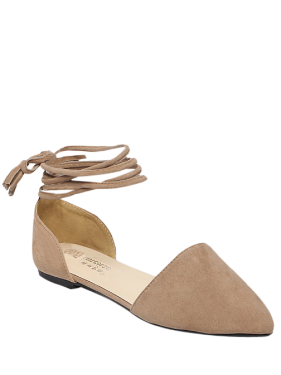 women Tie Up Pointed Toe Flock Flat Shoes - LIGHT KHAKI 38