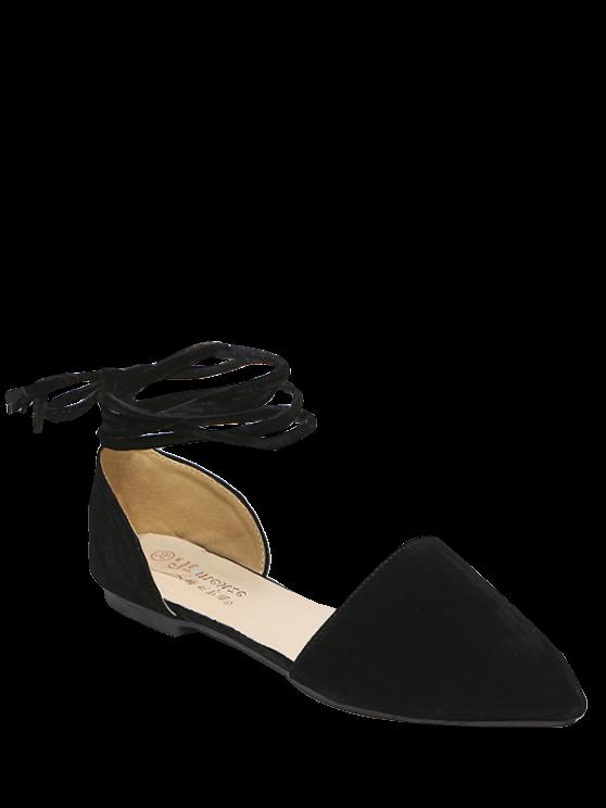 Ate para arriba en punta del dedo del pie zapatos planos Flock - Negro 37