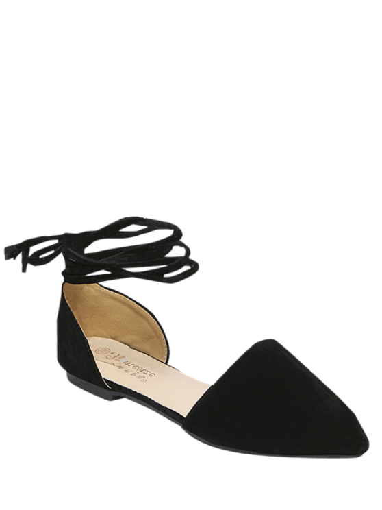 Tie Up Pointed Toe Flock Flat Shoes - BLACK 38 Mobile