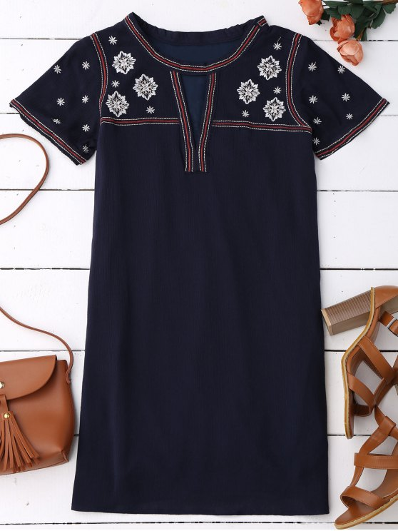 womens Embroidered Shift Ethnic Dress - BLACK BLUE L