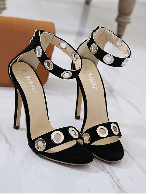 Hollow Out Zipper Stiletto Heel Sandals - BLACK 37 Mobile