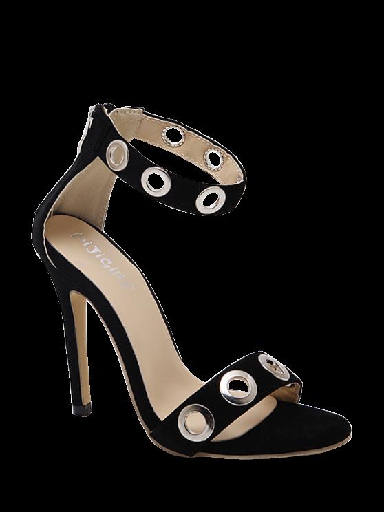 hot Hollow Out Zipper Stiletto Heel Sandals - BLACK 37