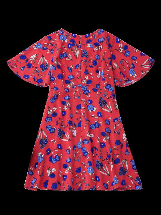 Floral Split Back Dress - RED S Mobile
