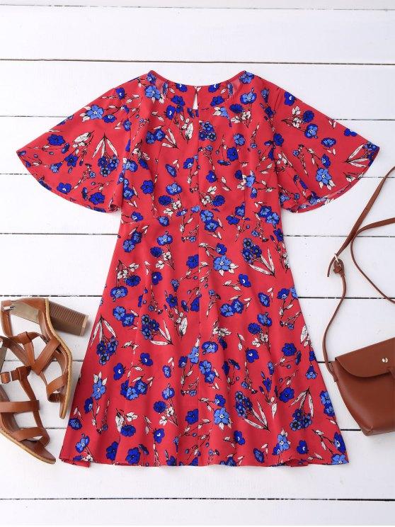 outfit Floral Split Back Dress - RED L