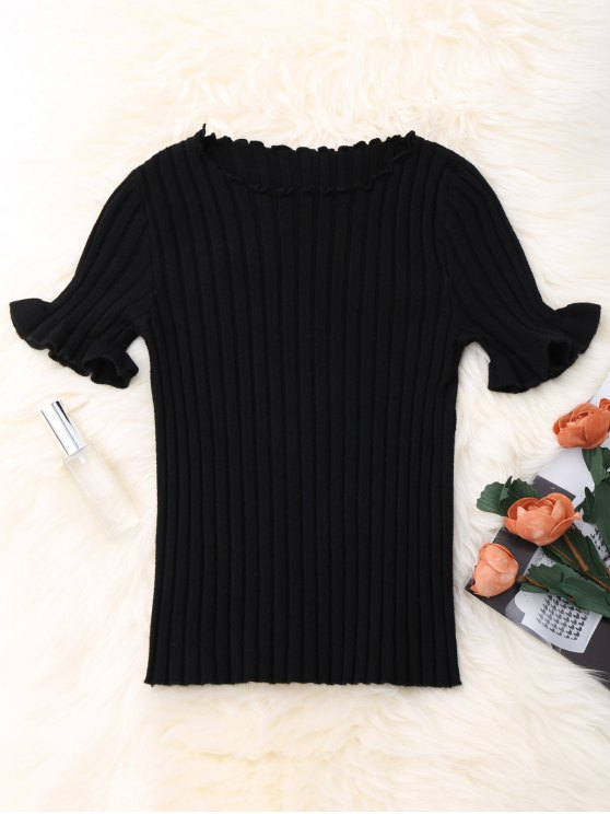 Knitted Ribbed Top - BLACK ONE SIZE Mobile