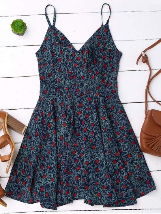 online Slip Leaf Print Surplice Skater Dress - COLORMIX M