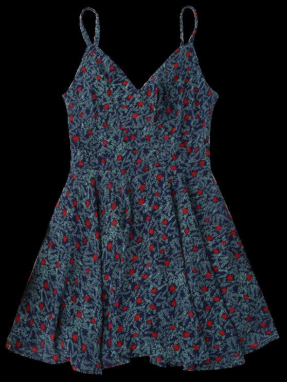 Slip Leaf Print Surplice Skater Dress - COLORMIX M Mobile