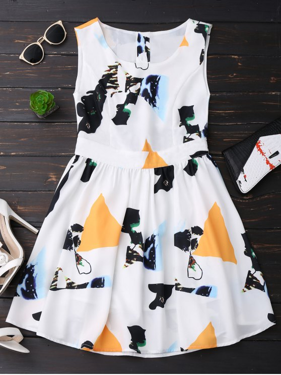 outfits Print Back Buttoned Sleeveless Holiday Dress - YELLOW M