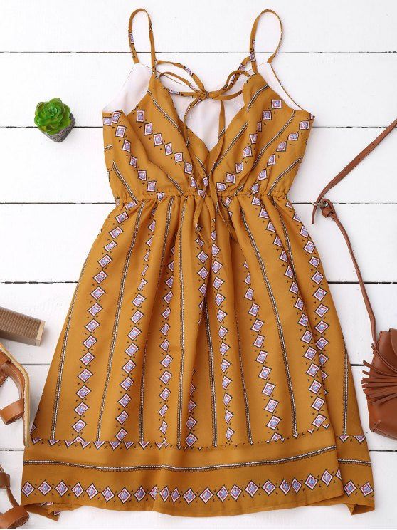 Argyle Print Slip Fit and Flare Dress - EARTHY S Mobile
