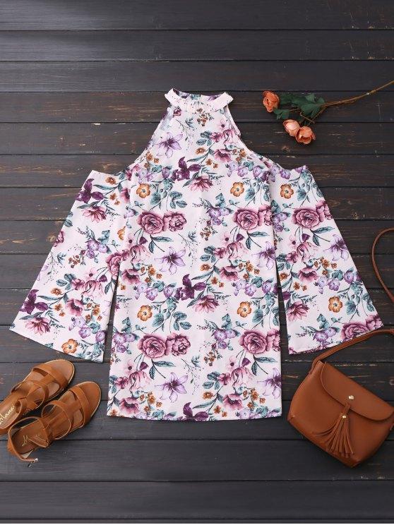 buy Cold Shoulder Floral Holiday Dress - FLORAL S