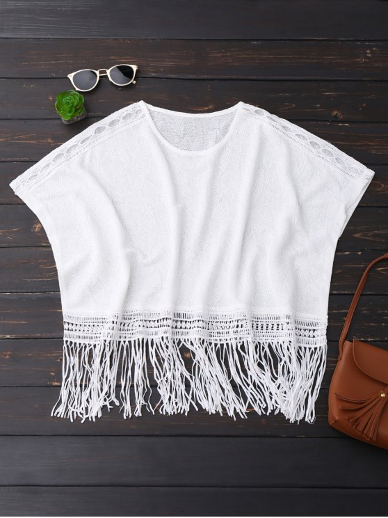 outfits Oversized Fringed Top - WHITE ONE SIZE