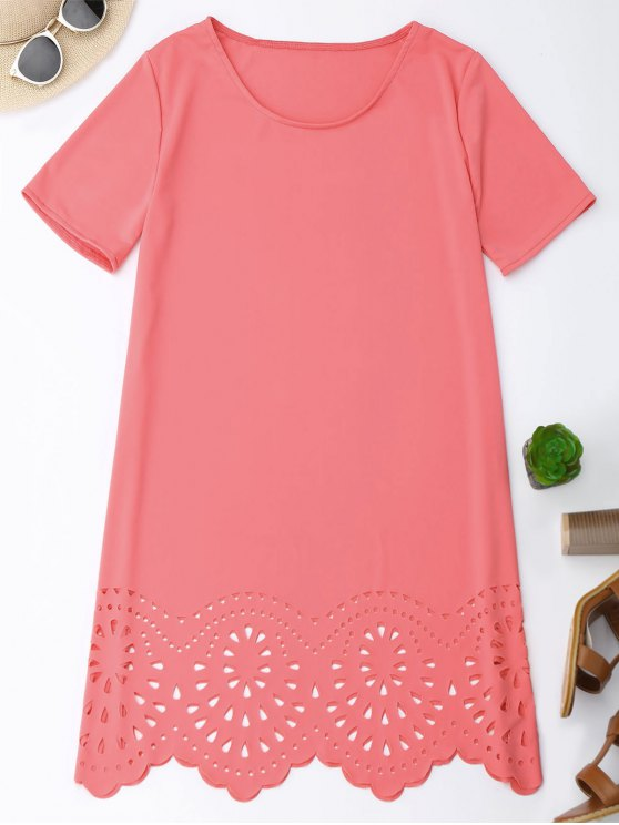best Laser Cut Tunic Shift Tee Dress - PINK S