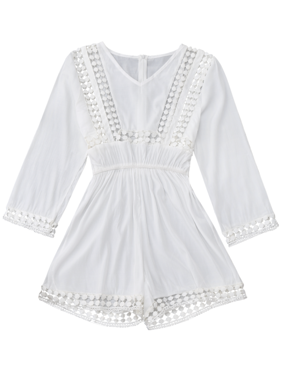 Long Sleeve Hollow Out V Neck Romper - WHITE M Mobile