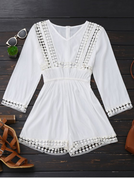 trendy Long Sleeve Hollow Out V Neck Romper - WHITE XL