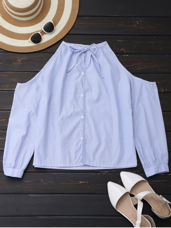 women Cold Shoulder Button Up Shirt With Stripe - LIGHT BLUE S
