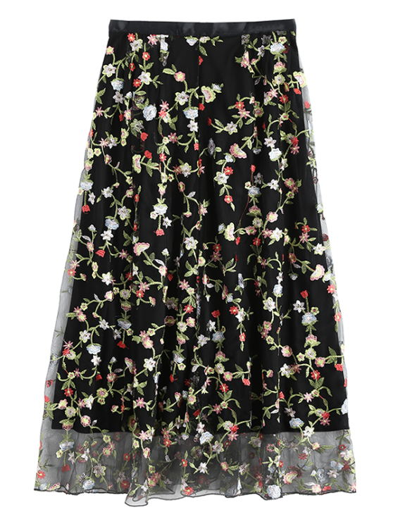 Floral Embroidered Tulle Skirt - BLACK S Mobile