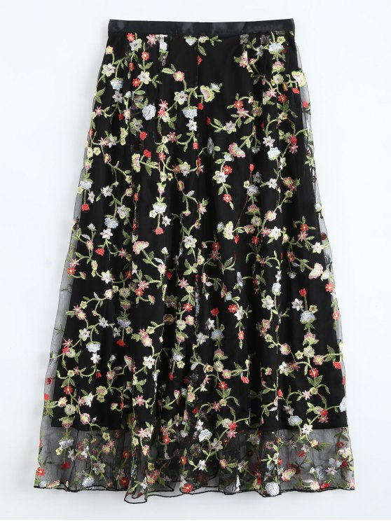 latest Floral Embroidered Tulle Skirt - BLACK L