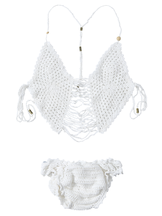 Tassels Cami Crocheted Bikini Set - WHITE ONE SIZE(FIT SIZE XS TO M) Mobile