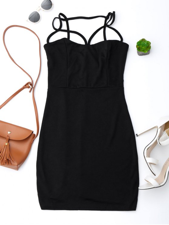 fashion Spaghetti Straps Low Back Bodycon Dress - BLACK M