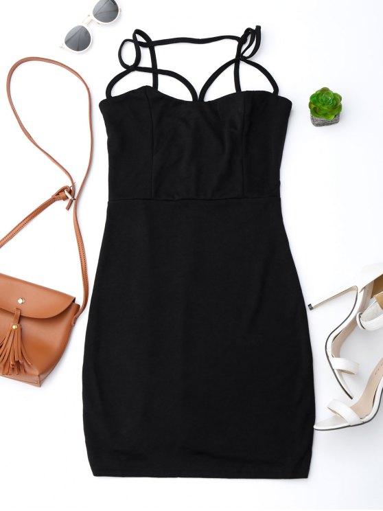 fashion Spaghetti Straps Low Back Bodycon Dress - BLACK M