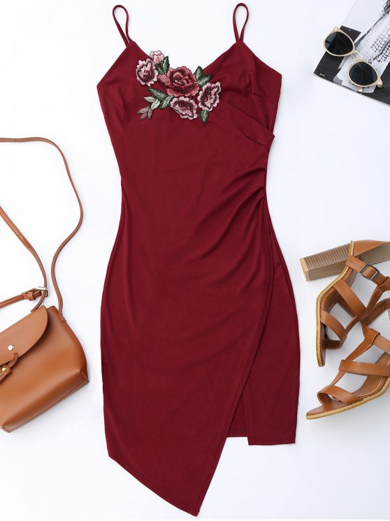 trendy Floral Patched Asymmetrical Surplice Dress - WINE RED M