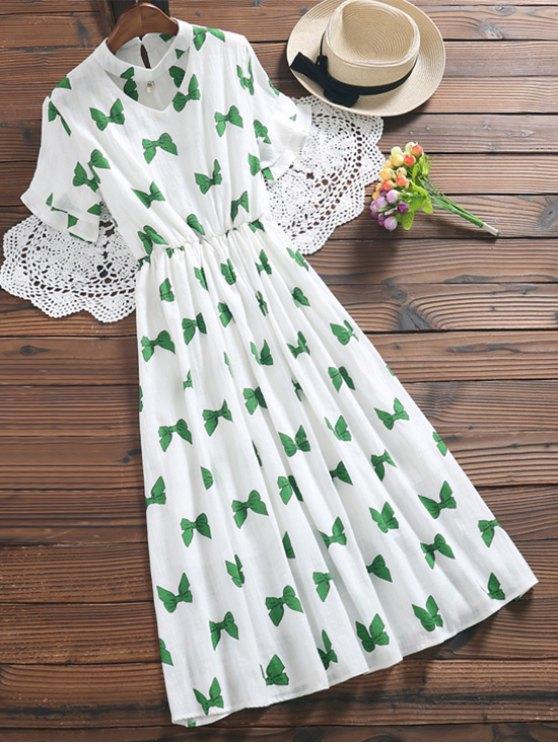 Bowknot Print Faux Pearl Choker Linen Dress - GREEN S Mobile