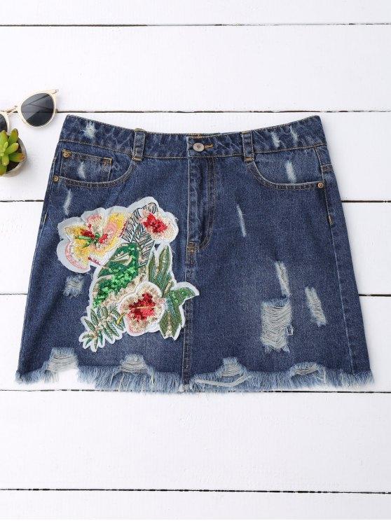 Falda de mezclilla con motivos florales de lentejuelas - Denim Blue M