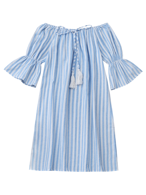 Off Shoulder Drawstring Striped Dress - LIGHT BLUE S Mobile