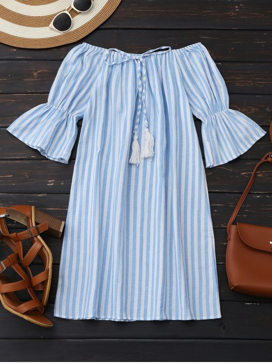 trendy Off Shoulder Drawstring Striped Dress - LIGHT BLUE S