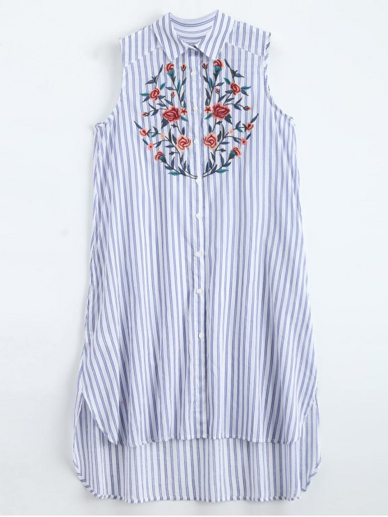 online Sleeveless Floral Embroidered Striped Shirt Dress - BLUE STRIPE M