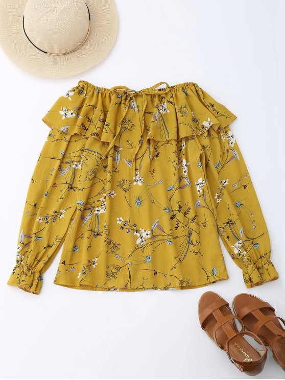lady Off Shoulder Ruffle Drawstring Floral Blouse - YELLOW M