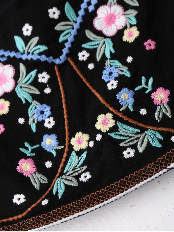Floral Embroidered Smocked Cropped Tank Top - BLACK ONE SIZE Mobile