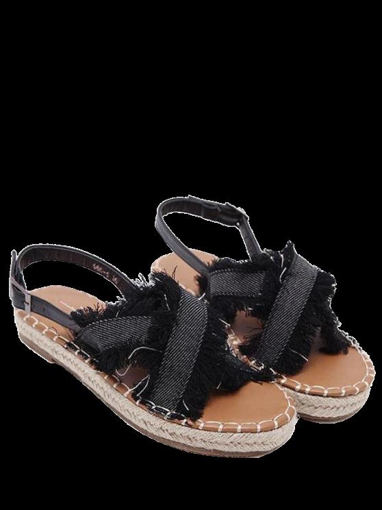 latest Espadrilles Buckle Strap Denim Sandals - BLACK 39