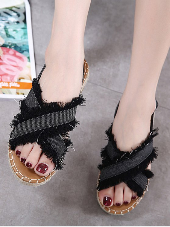 Espadrilles Buckle Strap Denim Sandals - BLACK 37 Mobile