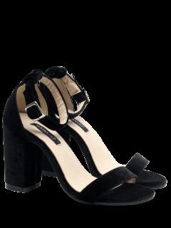 Block Heel Velvet Ankle Strap Sandals - Black 39