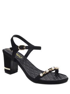 Suede Block Heel Faux Pearls Sandals - Black 38