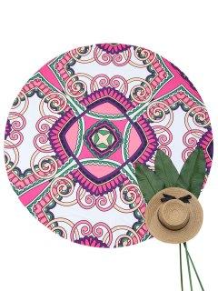 Round Portable Beach Throw - Multicolor