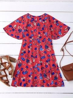 Robe à Dos Décoratif Floral - Rouge M