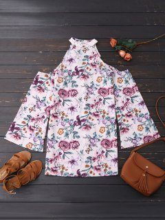 Cold Shoulder Floral Holiday Dress - Floral M
