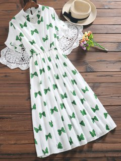Bowknot Print Faux Pearl Choker Linen Dress - Green M