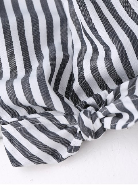 best Off Shoulder Ruffle Knot Hem Crop Top - BLACK STRIPE S Mobile