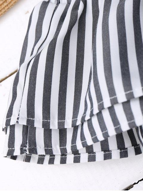 online Off Shoulder Ruffle Knot Hem Crop Top - BLACK STRIPE M Mobile