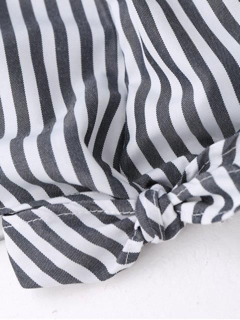 new Off Shoulder Ruffle Knot Hem Crop Top - BLACK STRIPE L Mobile