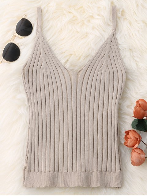 chic Knitted Ribbed Tank Top - APRICOT ONE SIZE Mobile