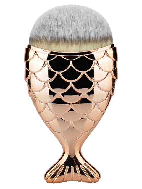 women Fiber Wide Beauty Mermaid Foundation Brush - ROSE GOLD  Mobile