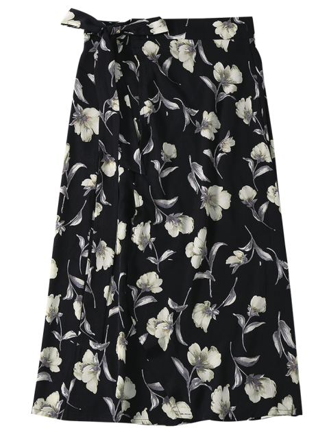 new Floral High Slit Wrap Holiday Skirt - BLACK ONE SIZE Mobile